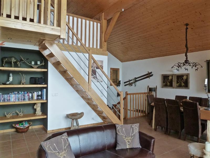Open plan living area with mezzanine sleeping area