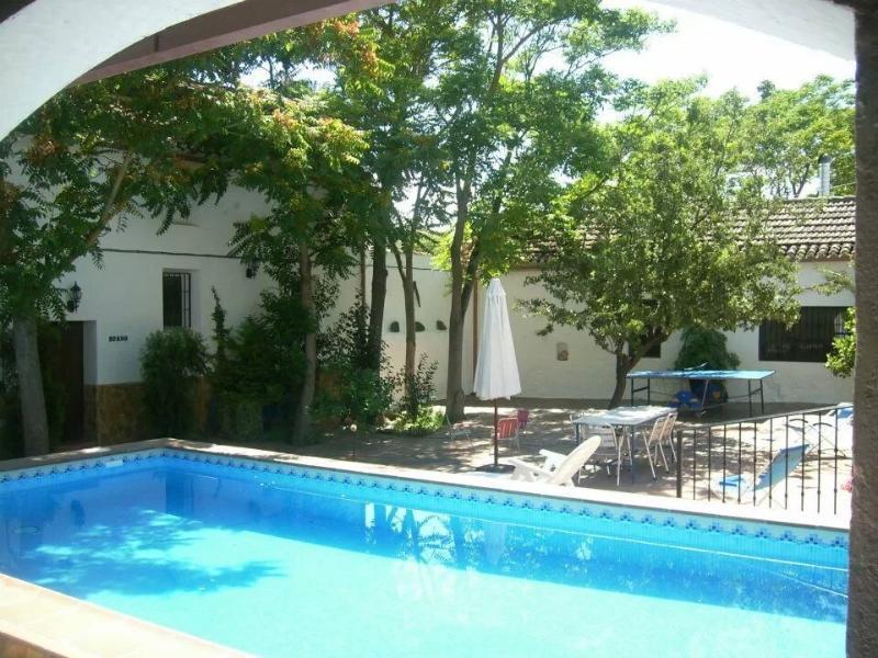 Bonito patio andaluz con piscina, barbacoa, ping.pong, mobiliario de jardín, tumbonas y sombrillas