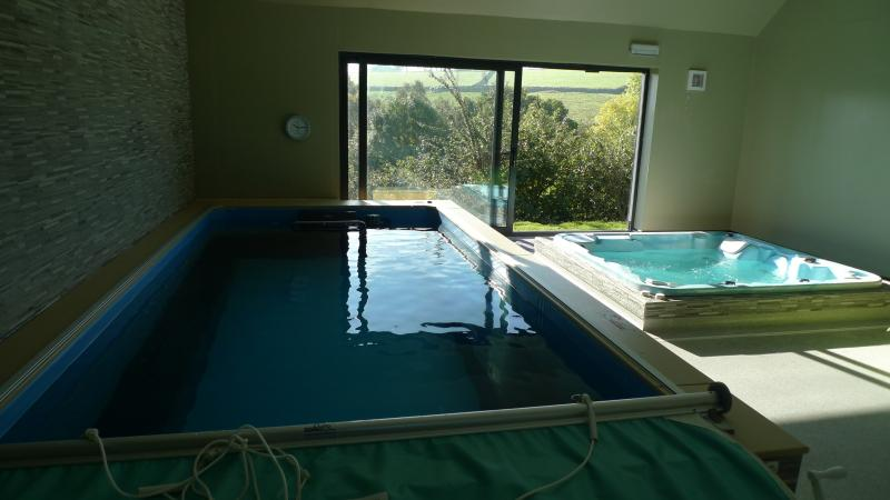 The new pool and hot-tub.  Available to book for private use at no extra charge.