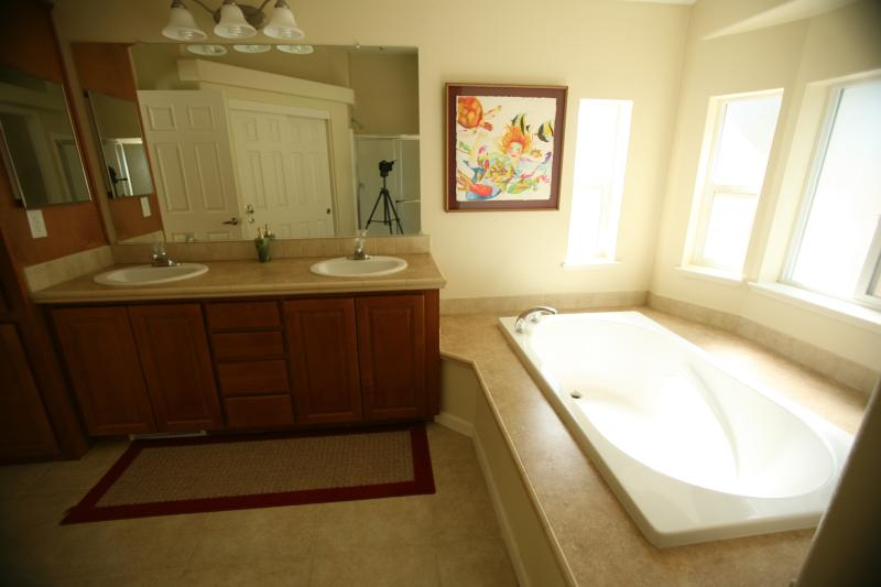 Relax in the oversized tub...