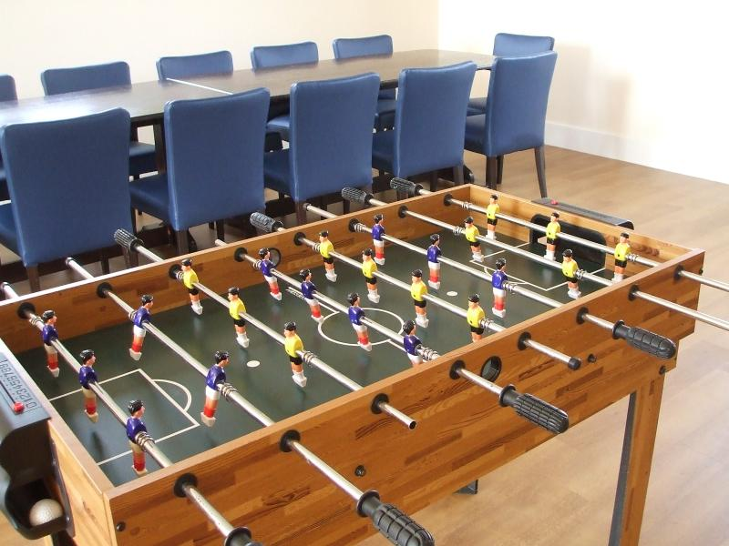 Foosball, Pool and X-Box available in games room