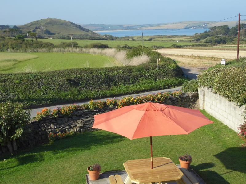 patio and picnic area at the front of the house, looking to view of Brae Hill
