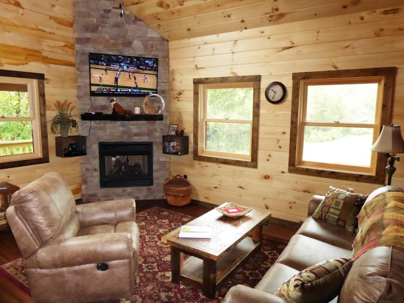 Comfy Living Room with Fireplace and wide screen HDTV