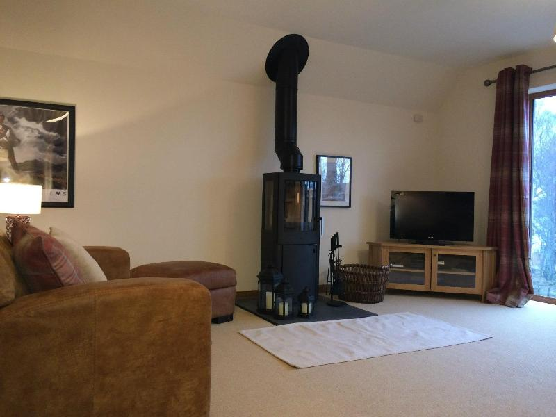 upstairs living room with wood burning stove