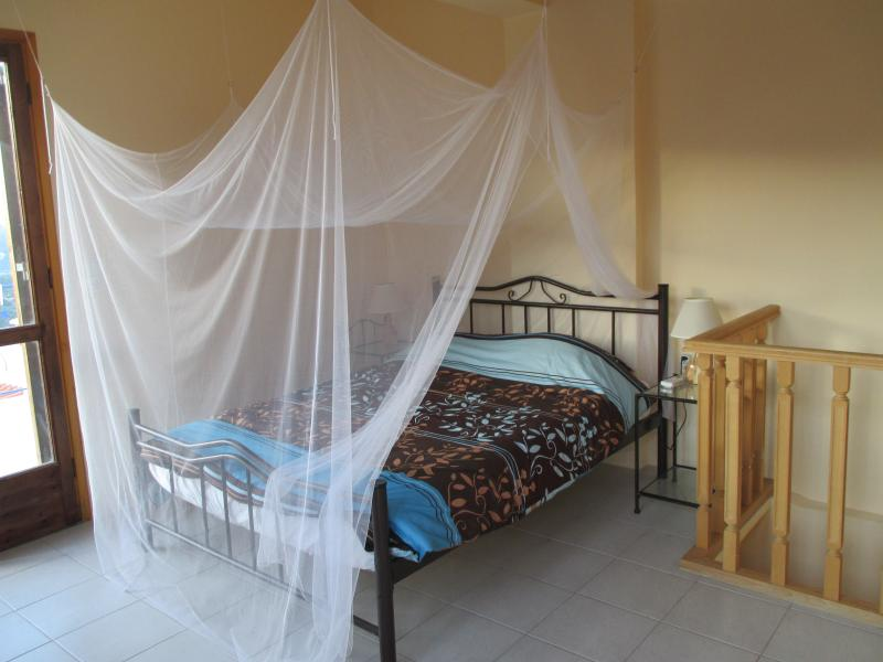 Spacious master bedroom with air conditioning and double bed