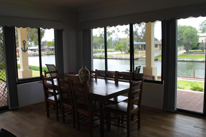 The inside dining area with a view