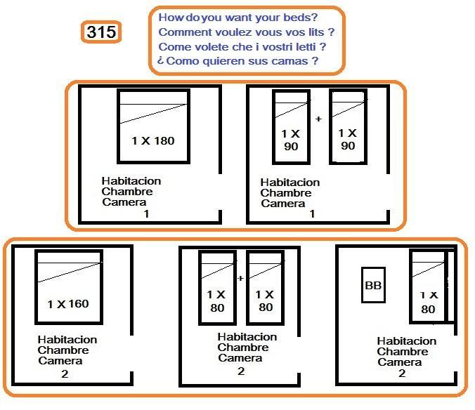 Habitacion 2: Pueden elegir la forma de las camas.