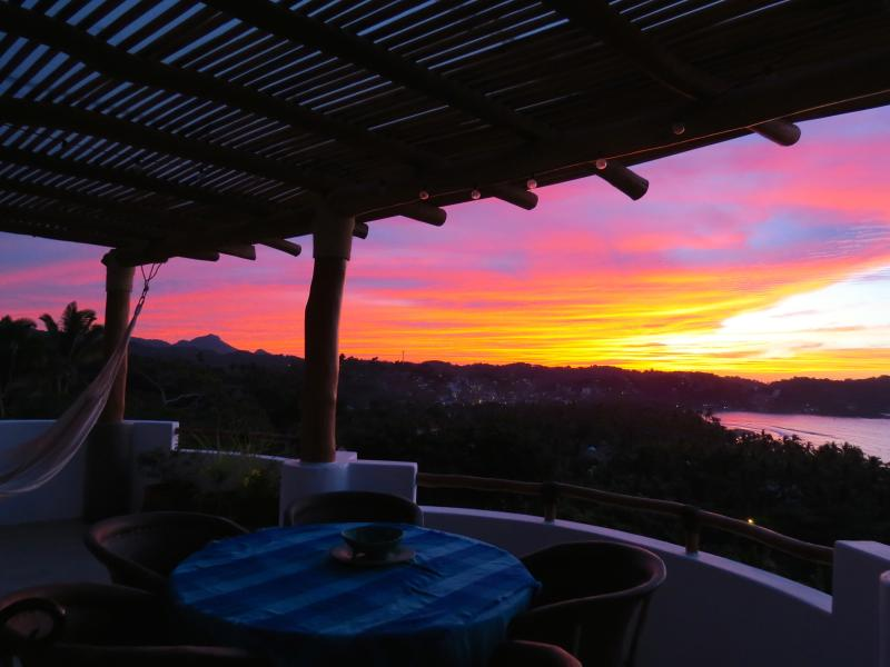 Roof Terrace Sunset Afterglow looking south towards Monkey Mountain