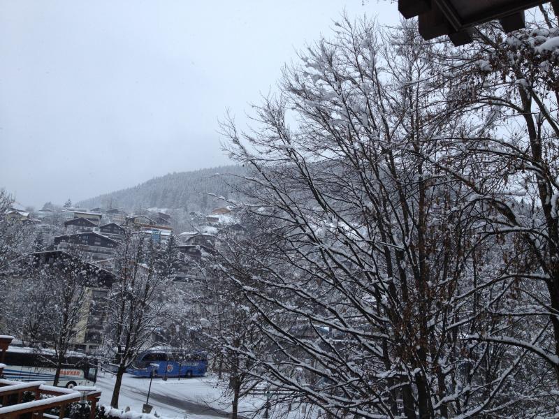 snowy mountain views from balcony