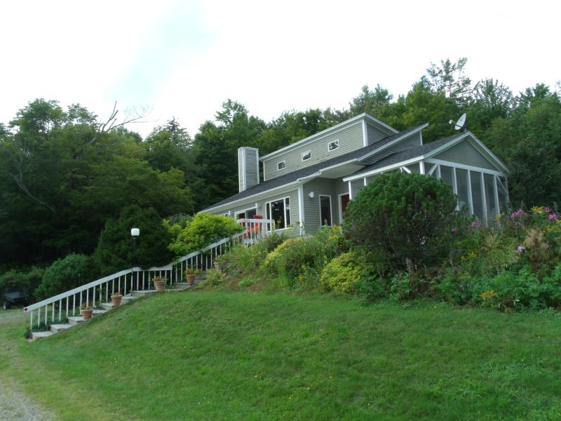 The best part of this beautiful, fully, equipped house is the private setting & close to Jay Peak!