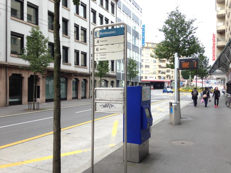 Busstop right in front of the Building