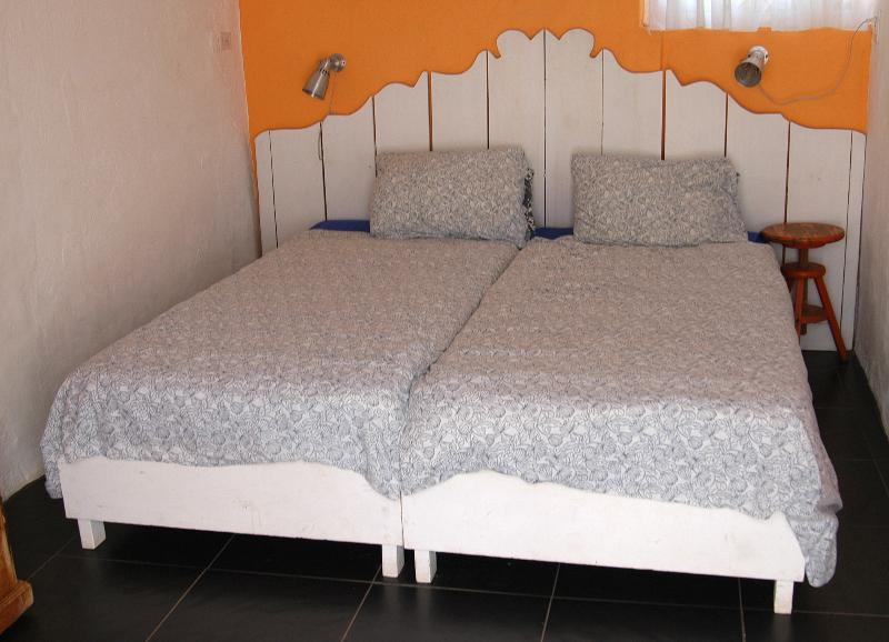 Two single beds make a nice double bed in Apartment 1