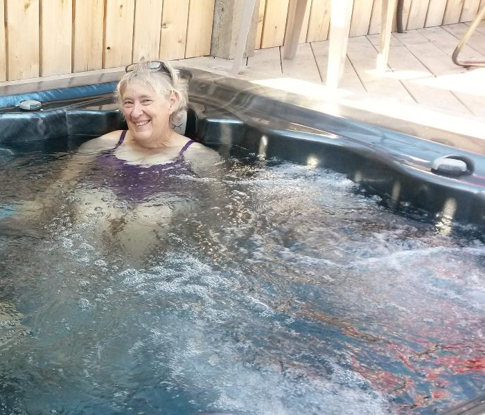That's me....the hot tub is every bit as enjoyable as it looks.