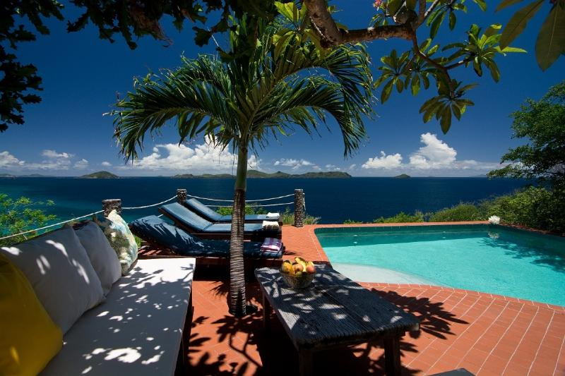 View of Tranquility Villa pool looking out to the Caribbean sea and other islands
