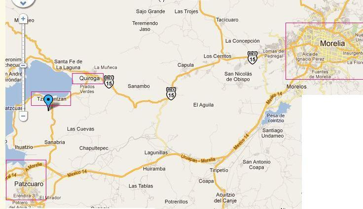 location of town of Tzintzuntzan, where the cottage is located with respect to Morelia and Patzcuaro