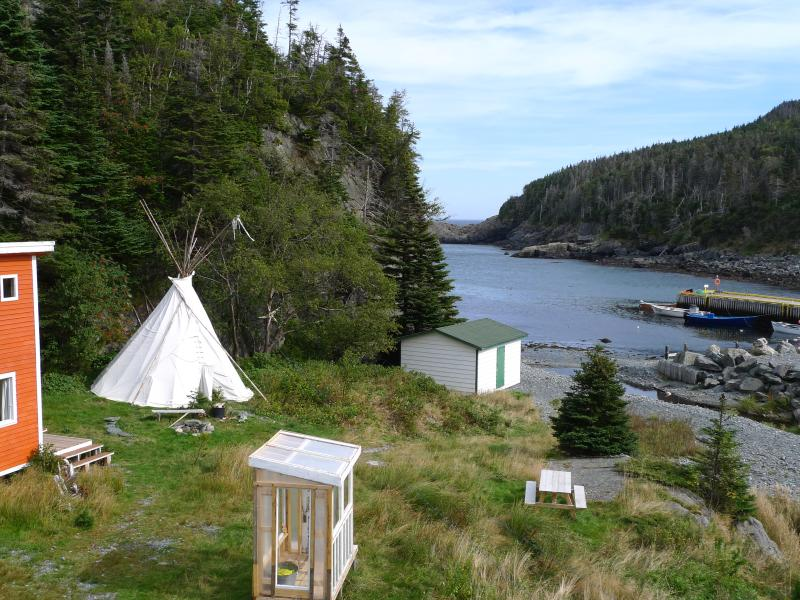 Cabin, Tipi and Beach Shed in view.