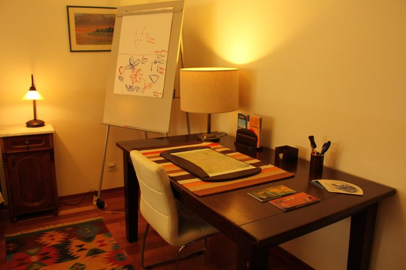 The desk in the main bedroom