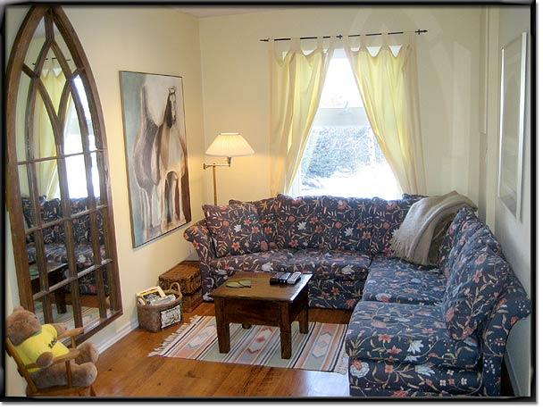 Cozy separate den/TV room with adjoining bedroom and 2pc bath could be like a like a private suite.