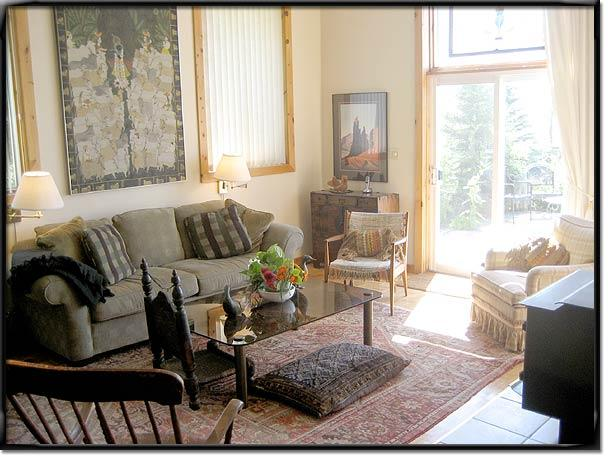 Airy high ceilinged  living/dining area with spacious terrace walkout overlooking  lake steps away