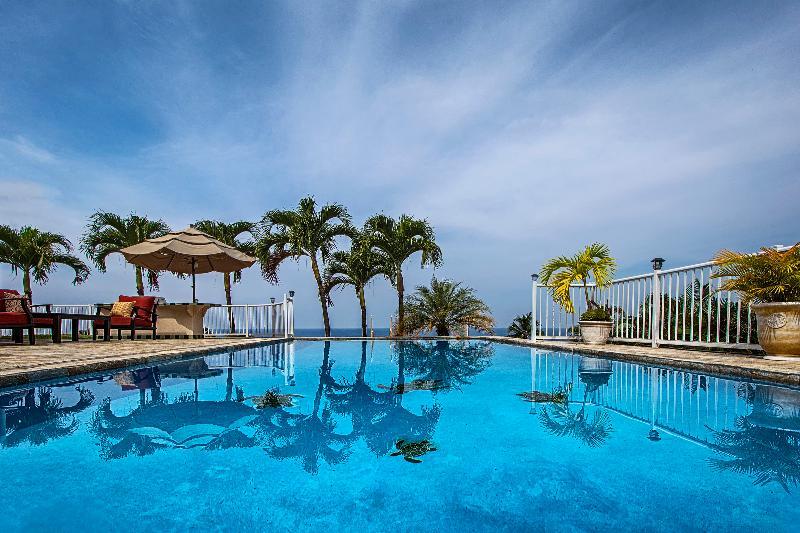 Vue sur l'océan avec grande piscine et un spa, barbecue en plein air