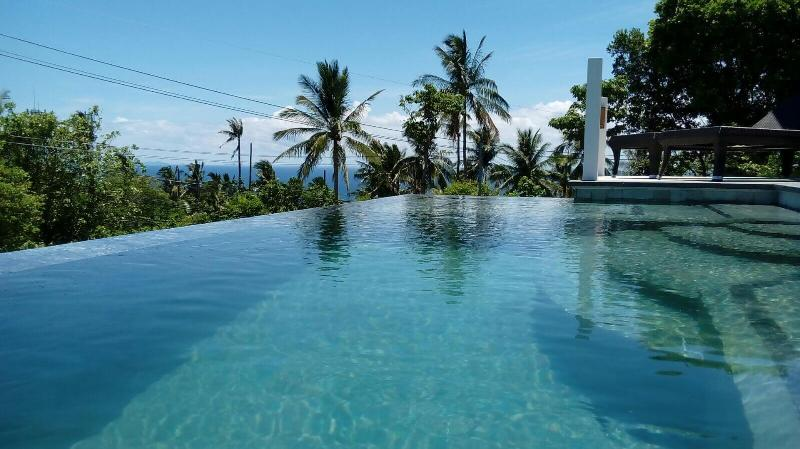 Custom designed infinity edge pool with indonesian vulcano stone tiles
