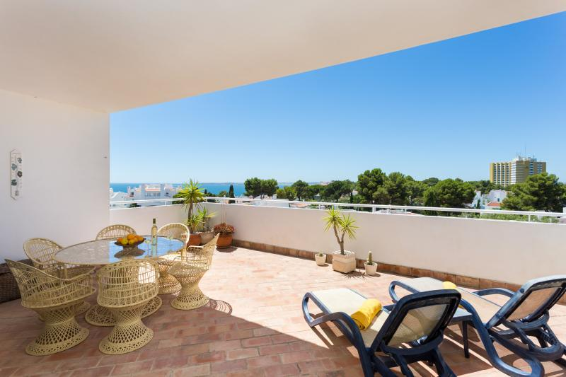 Balcony facing sunset with dining area and outdoor furniture with natural solarium.