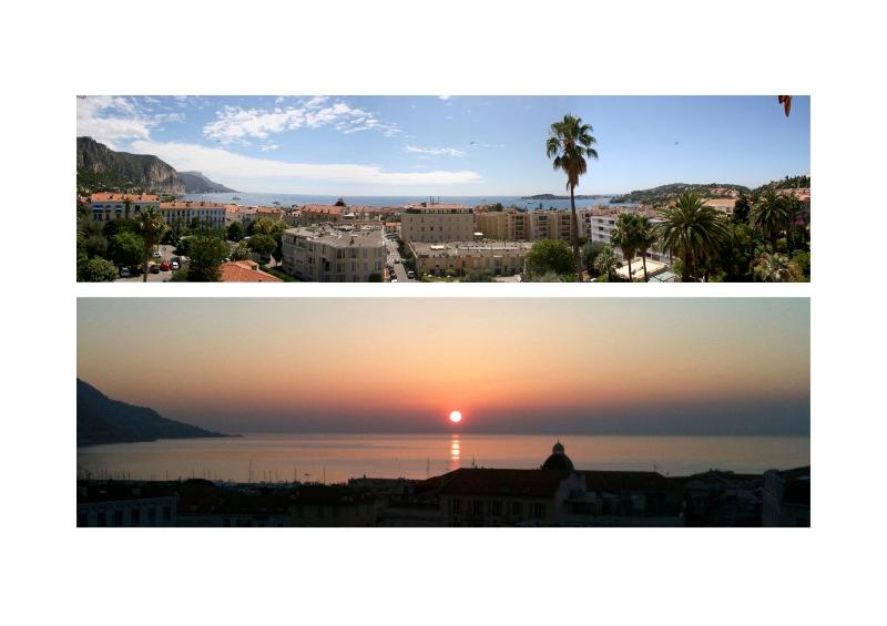 Panoramic views from the front balcony - Upper From Cap Ferrat to Cap d'Ail & Lower Sunrise!