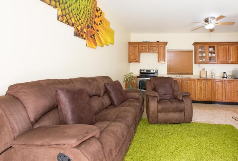 Open Planned Living & Dining Room with Internet Enable Flat Screen Plasma TV & Free WiFi