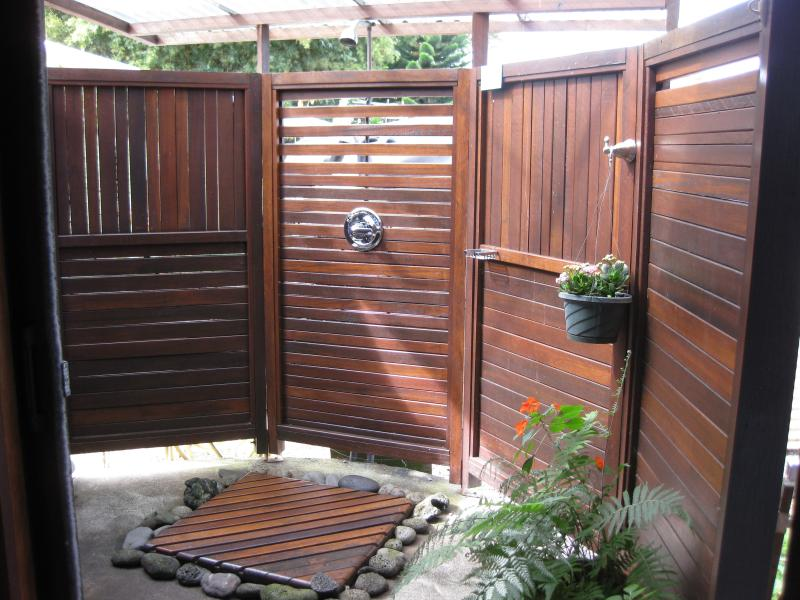 Covered outdoor shower