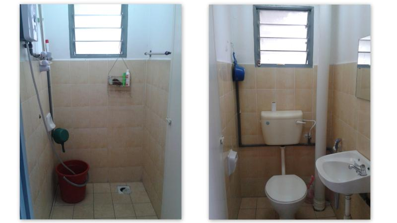 Toilet en douche kamer delen
