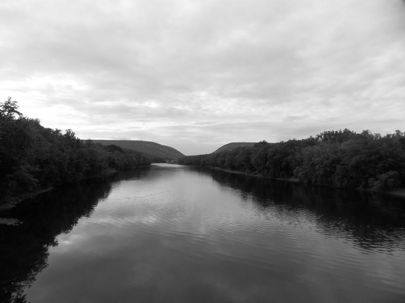 view of river from footbridge