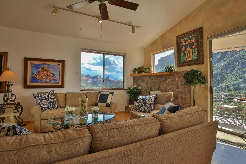 Amazing red rock views from the comfort of your living room