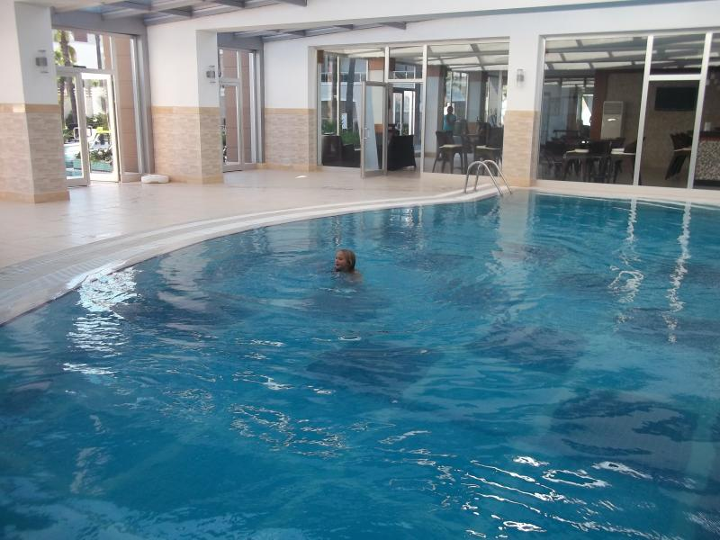 My daughter enjoying the large  heated indoor pool