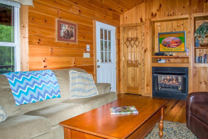 Cómoda sala de estar con chimenea y TV de alta definición