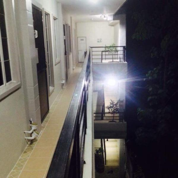 Hallway well lit at night