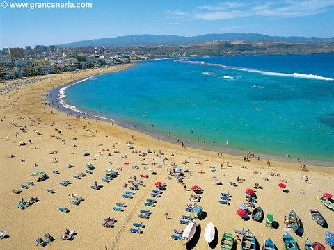 La magnífica Playa de Las Canteras de las Palmas de gran Canaria