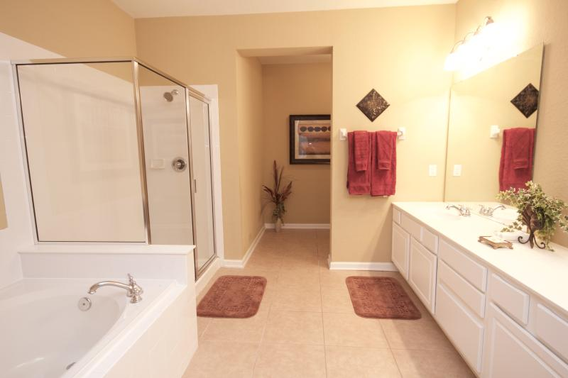 Large master bath with walk-in shower and oversized soaking tub