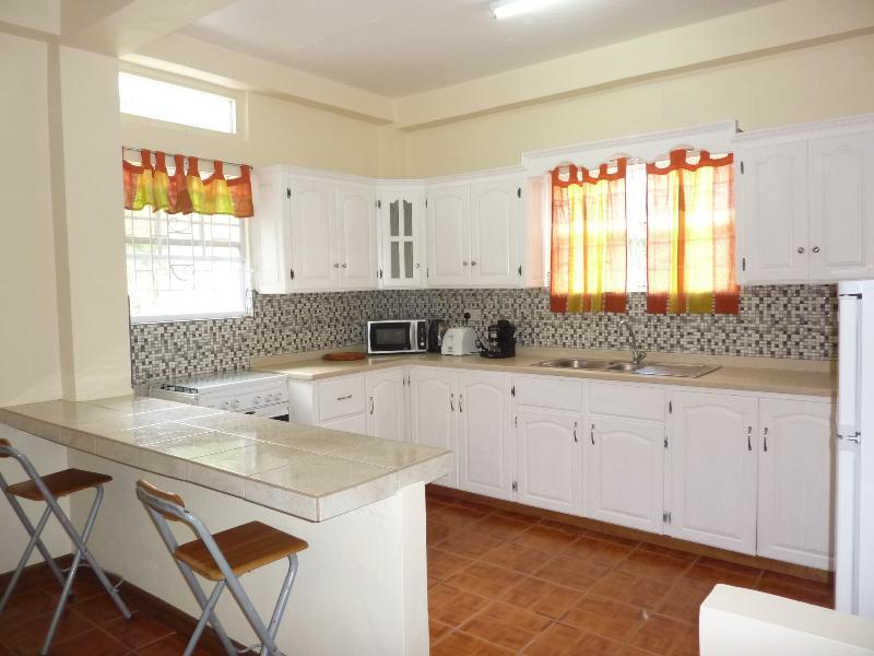 Large open plan kitchen. Cooker, microwave, kettle, coffee maker, fridge freezer, dinning table four