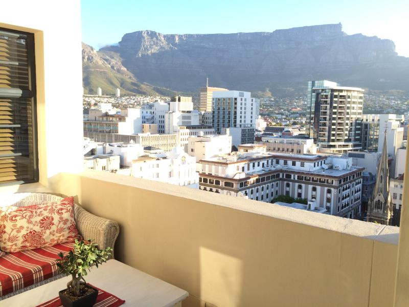 early evening view of Table Mountain from the deck