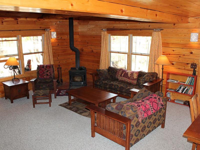 Grote kamer met houtgestookte fornuis en gewelfde plafonds