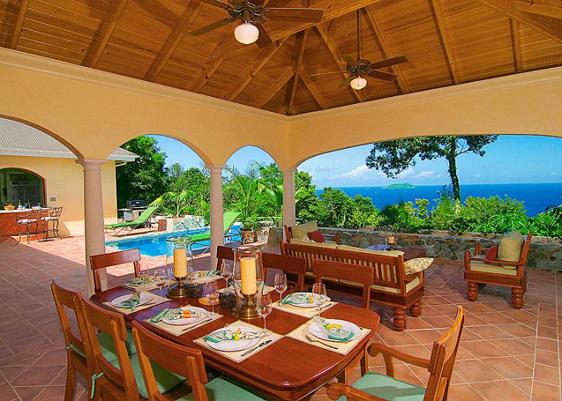 The Peace and Plenty lanai offers a majestic setting to enjoy St. John's Caribbean beauty!