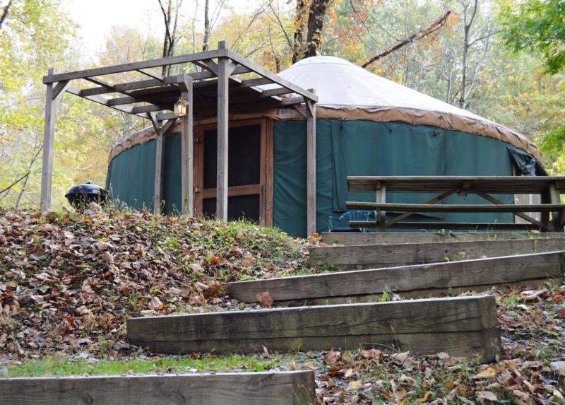 The Pacific Yurt is situated on a bluff by the Shavers Fork River.