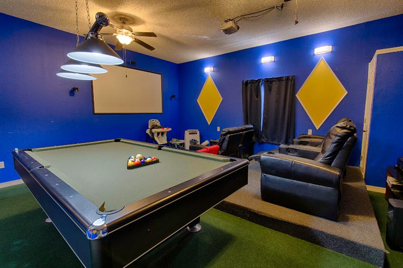 Amazing private movie theater and game-room