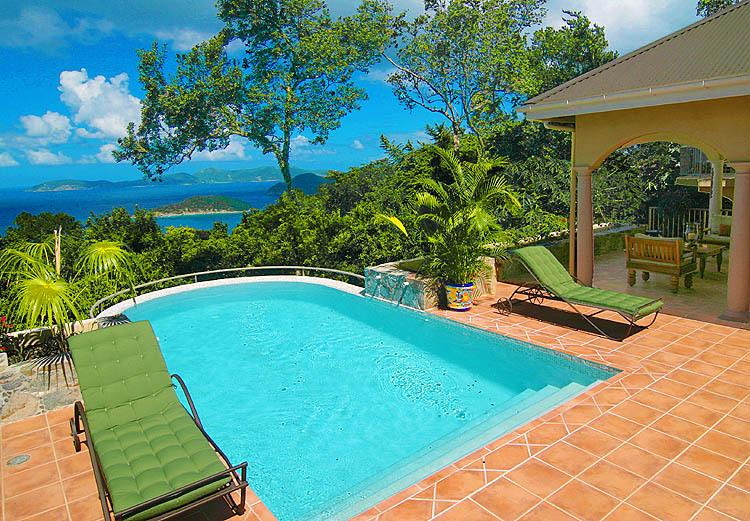 The spectacular Caribbean view pool and courtyard with tropical landscaping enjoys full sun.