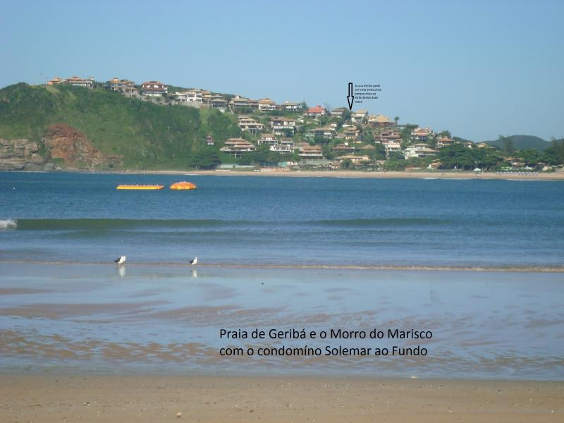 Geribá beach and Marisco Hill in the background with the condominium Solemar
