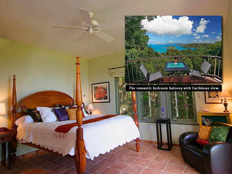 The Peace & Plenty lower master bedroom of the Main House with its romantic private balcony.