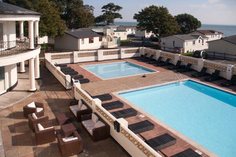 Heated outdoor pool, in season.