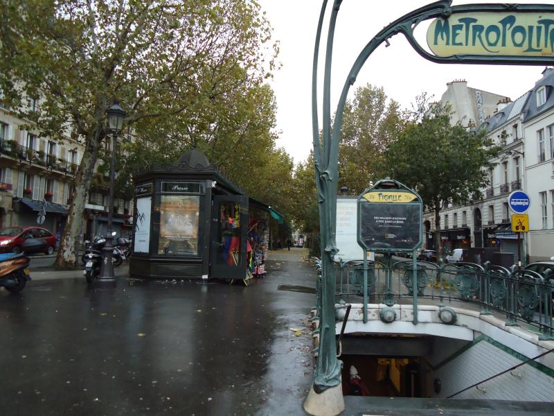Metro Pigalle just opposite the Apartment