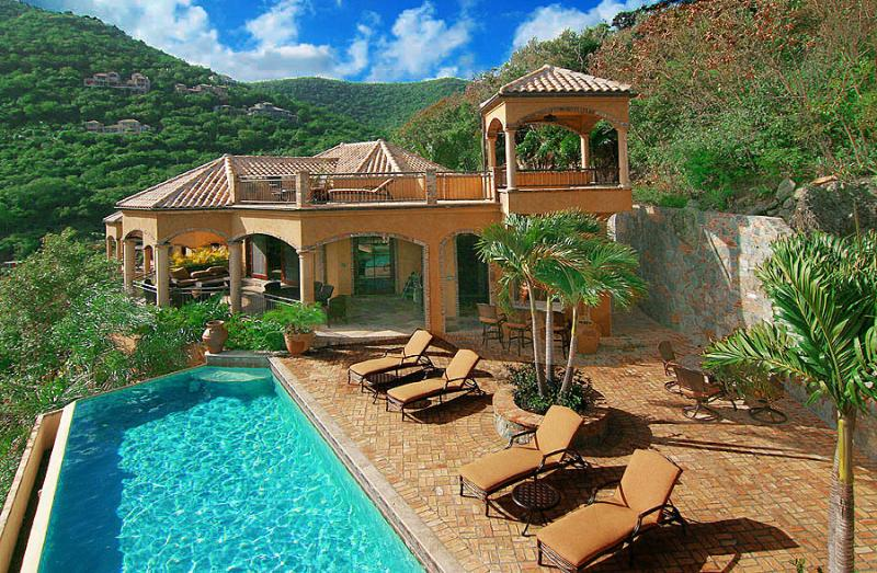 The elegant Mediterranean architecture of Villa Cinnamon Breeze...