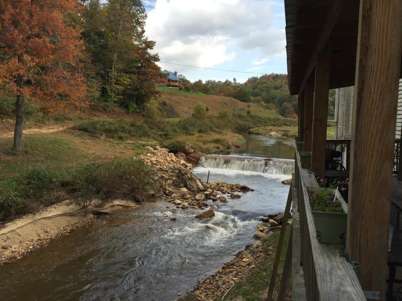 The Dan River rushes by behind the Crooked Road Cafe